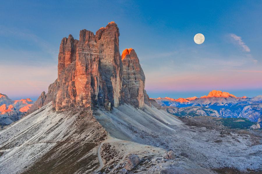 Full Moon Morning on Tre Cime di Lavaredo by Dmytro Korol on 500px.com