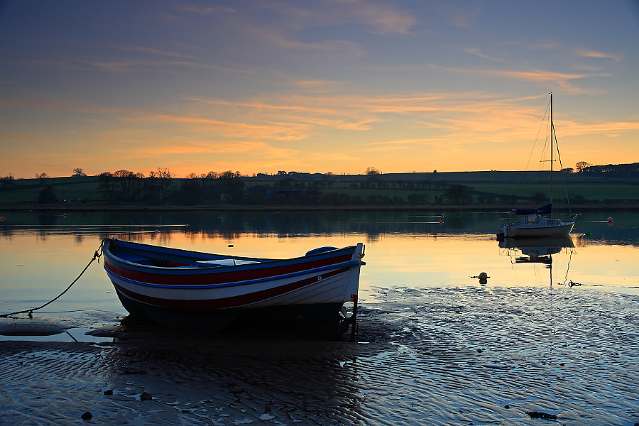 Tranquil sunset at Alnmouth
