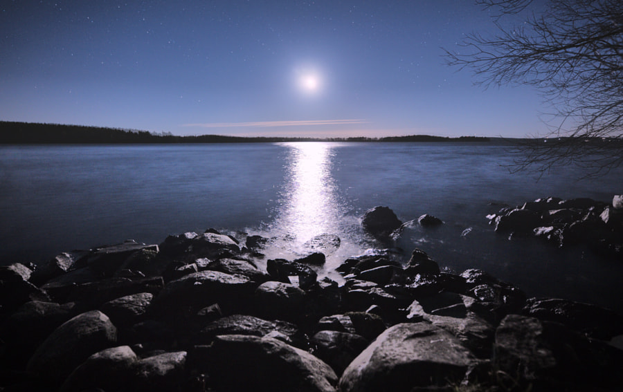 Full moon shining in peaceful lake view at night by Teemu Tretjakov on 500px.com