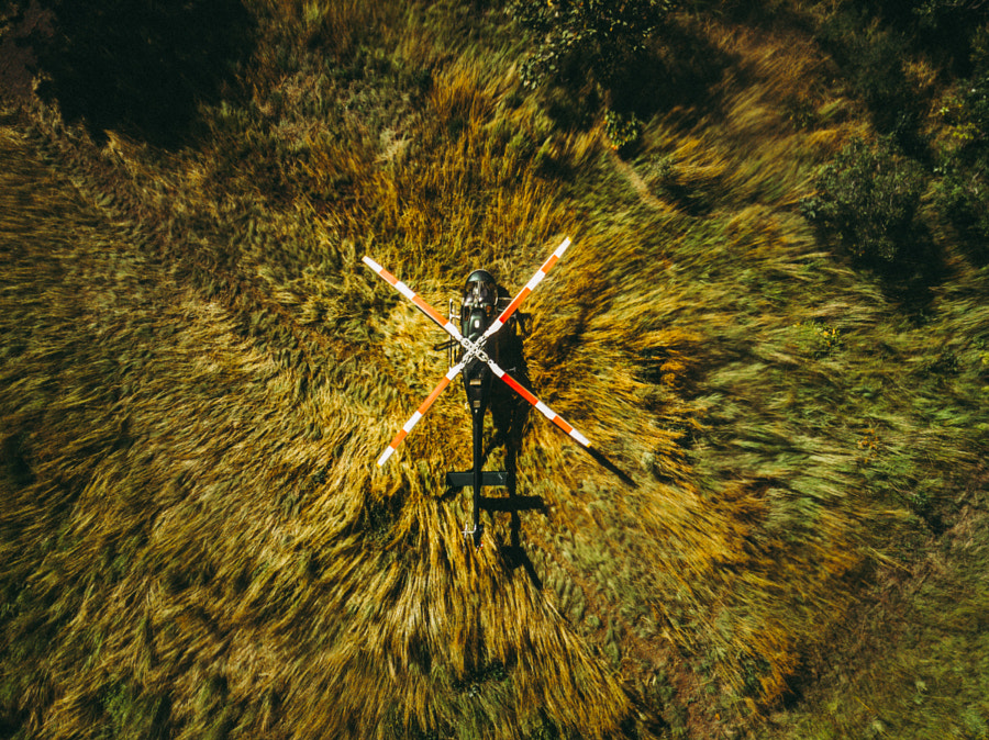 Helicopter downwash on tall grass by Gael Le Martin on 500px.com