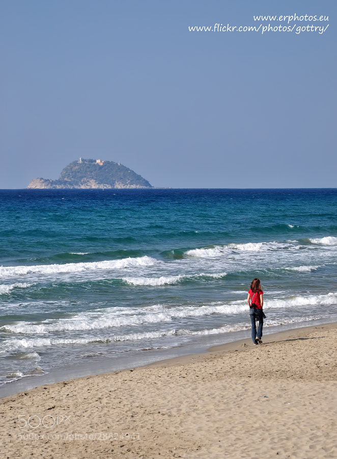 Alassio beach and Gallinara island.