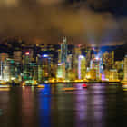 Nightly view of Hong Kong from our hotel room at the InterContinental