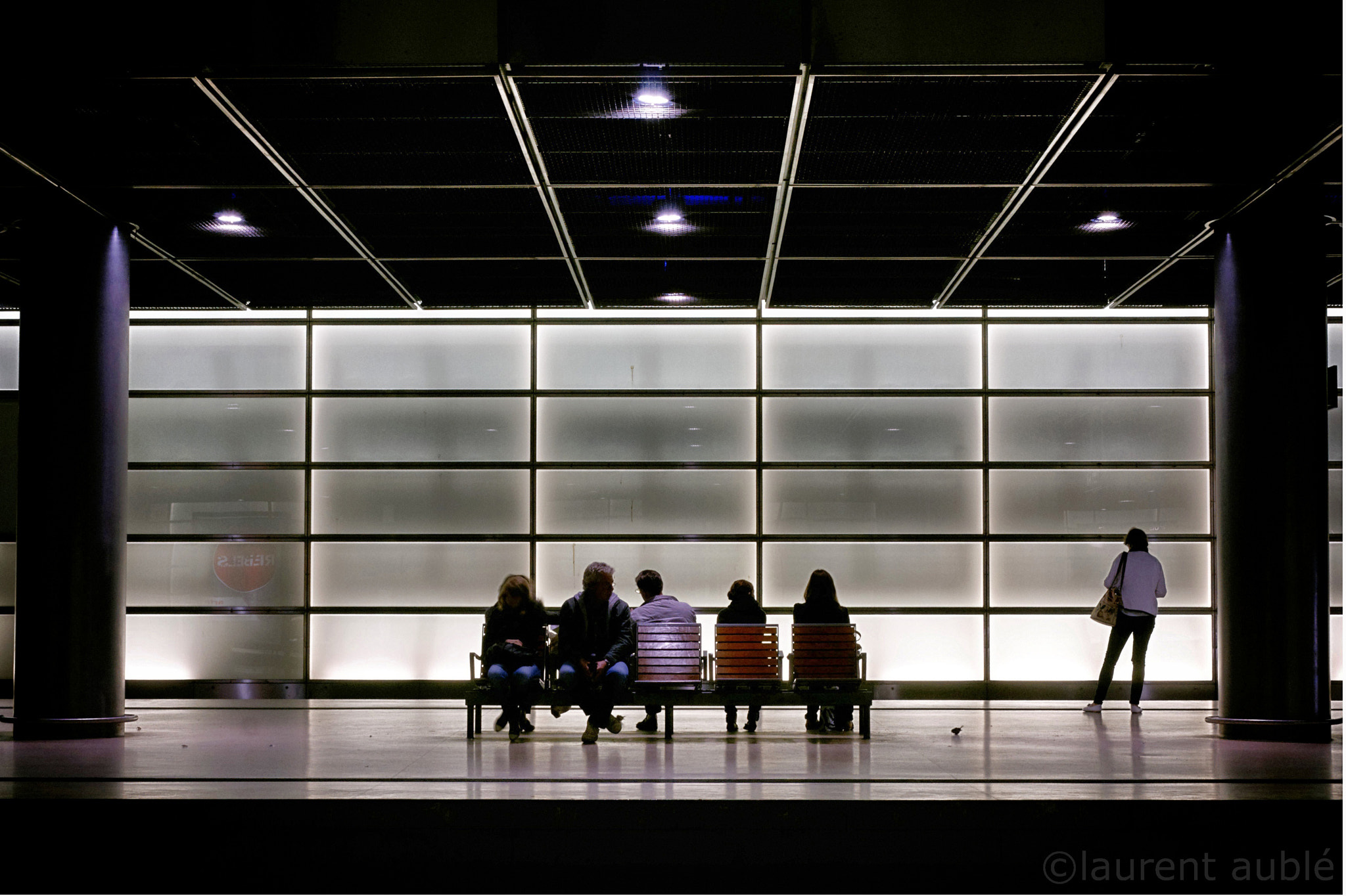 Photograph 4 women, 2 men and 1 hungry bird waiting for the next train by laurent aublé on 500px