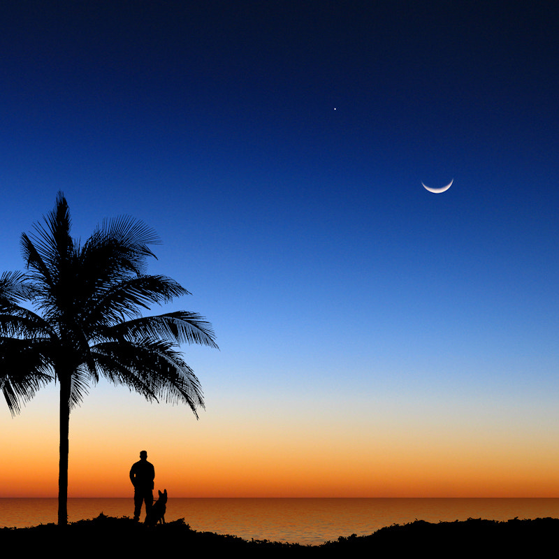 Photograph Moon and Venus at Sunset by Carlos Gotay on 500px