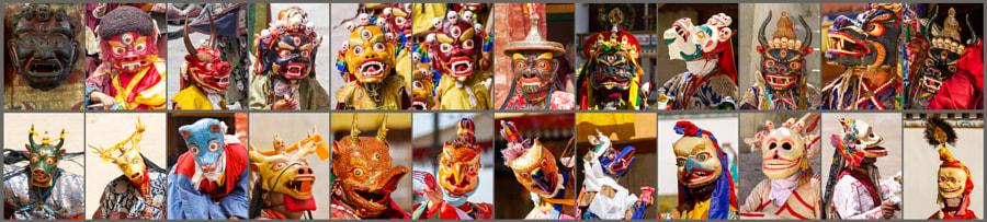 Religion. Cham Dance. Masked and costumed mystery dance of Tantric Buddhism. Dharmapalas, Bodhisattvas. Vajrayana. Маски танца Чам (Цам) - сакральной костюмированной церемонии Тантрического буддизма. Дхармапалы, бодхиcатвы, ваджраяна. Costume, history, india, symbolism, tibet, tsam, Ладакх, Сикким, Чам, буддизм, индия, история, костюм, символизм, тибет