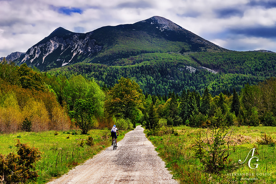 Biking towards the summit of Šator (1872m) mountain in western Bosnia Herzegovina at spring