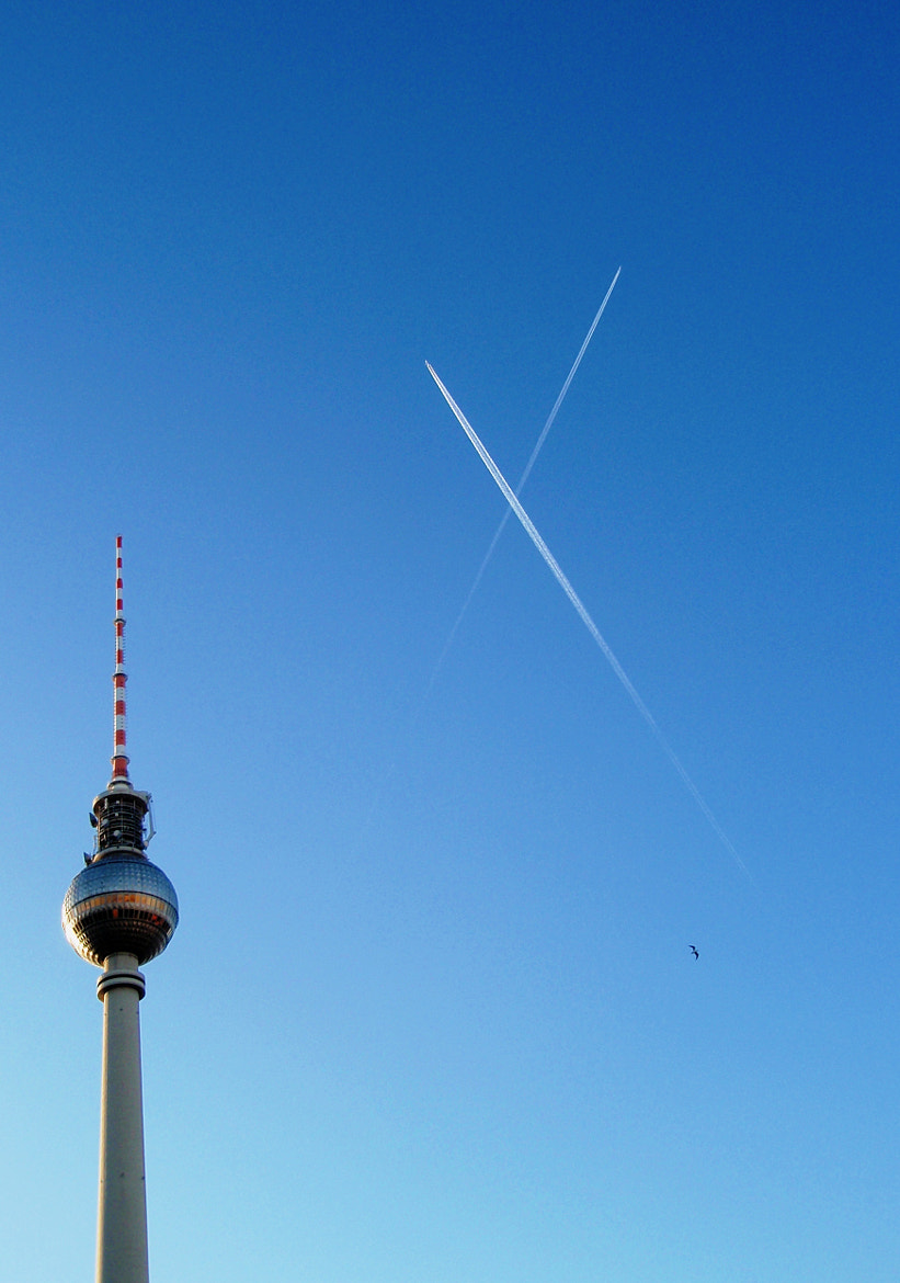 Photograph Sky, bird, airplanes and The Fernsehturm Berlin.. by Evita  on 500px