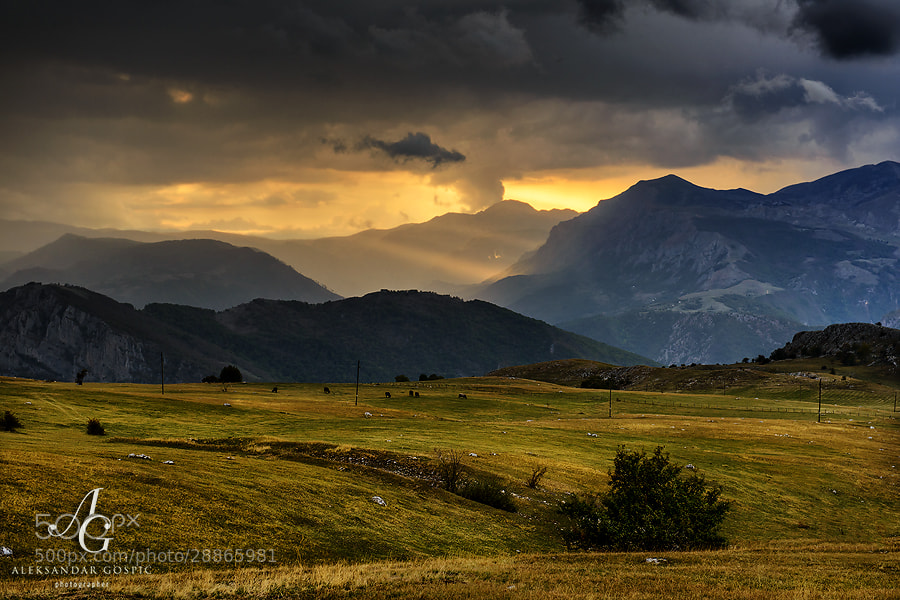 Late afternoon storm approaches Durmitor mountain.  In the middle is canyon of Piva river, on the right is part of Bioč mountain