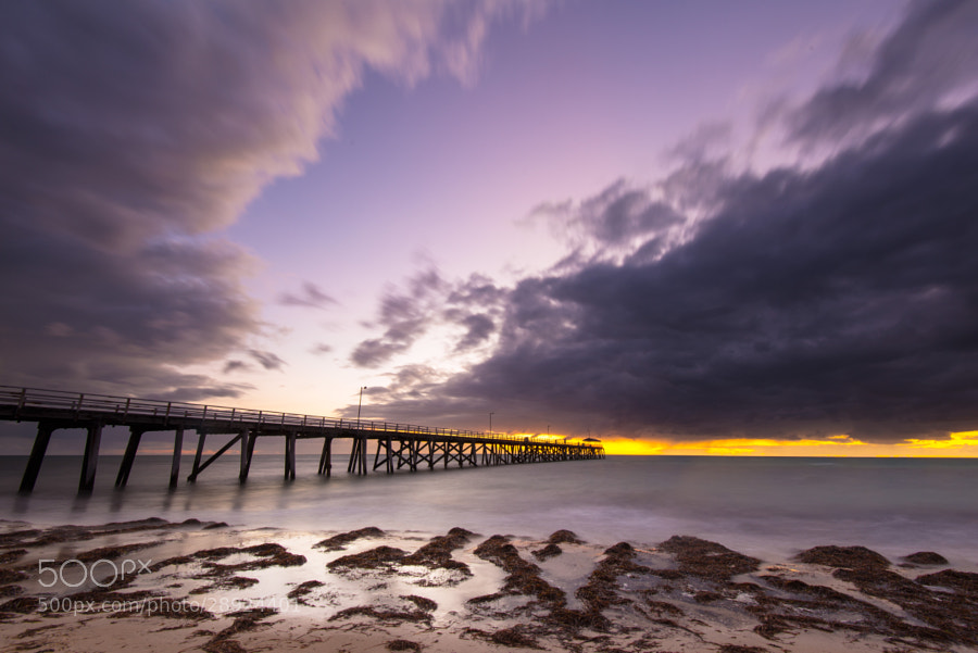 A vibrant sunset along the Grange Jetty, Adelaide.