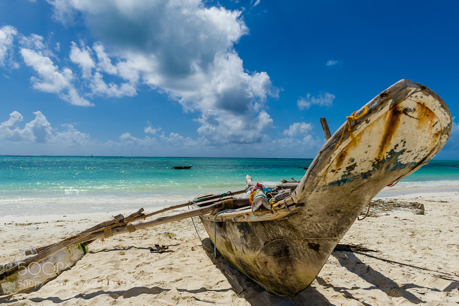 Traditional dhow on Jambiani beach