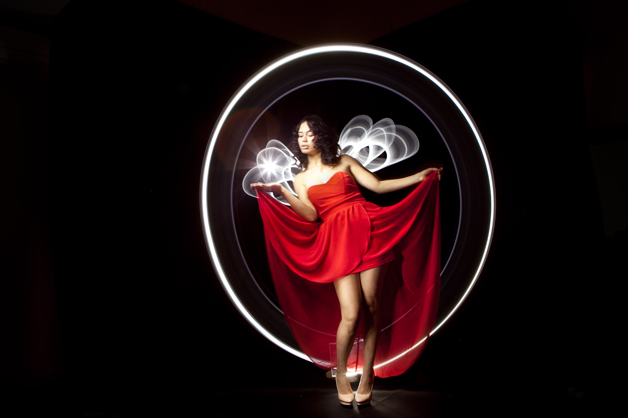 Photograph red dress and light by Cisco LightPainting on 500px