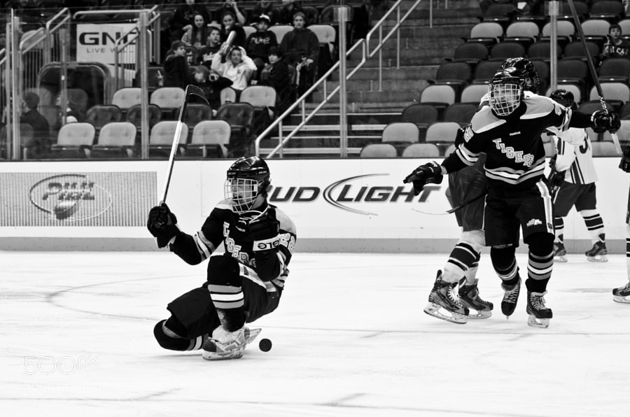North Allegheny forward Joe Griffin celebrating a third period goal in the Penguins Cup PIHL Final at Consol Energy Center, home of the Pittsburgh Penguins.