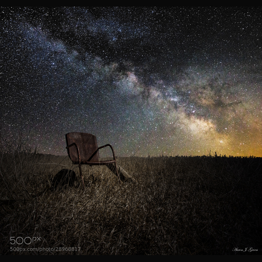 """""""Redneck  Planetarium""""  Milky Way Stars shine bright over an old rusty chair in a field in Southeastern South Dakota.    Please visit my website for prints and products  ---<a href=""""www.homegroenphotography.com"""" rel=""""nofollow"""">www.homegroenphotography.com</a> facebook - <a href=""""http://www.facebook.com/HomeGroenPhotography"""" rel=""""nofollow"""">www.facebook.com/HomeGroenPhotography</a>"""