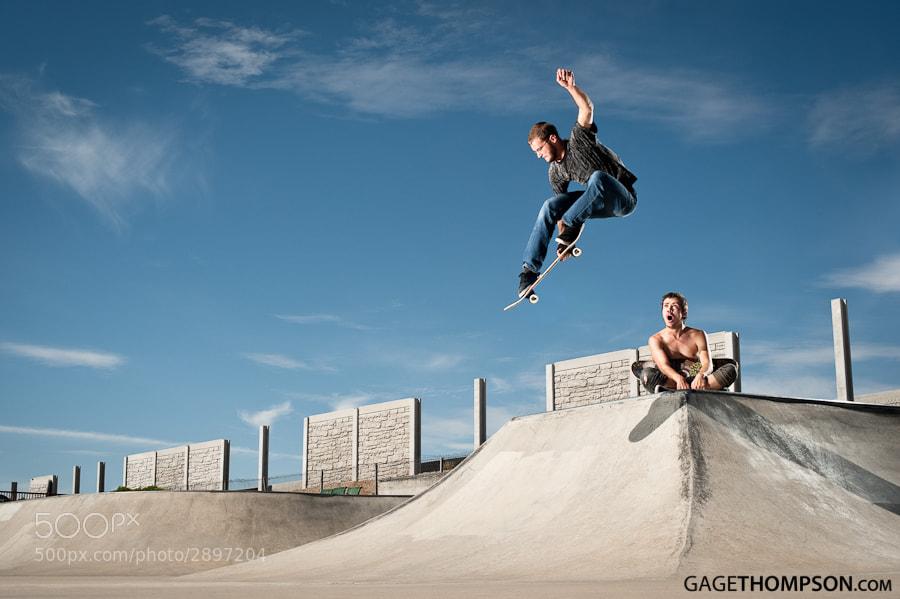 Skate boarding in action