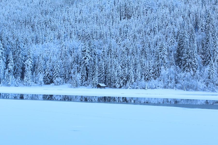 lone hut on frozen lake by Pressi Vummudi on 500px.com