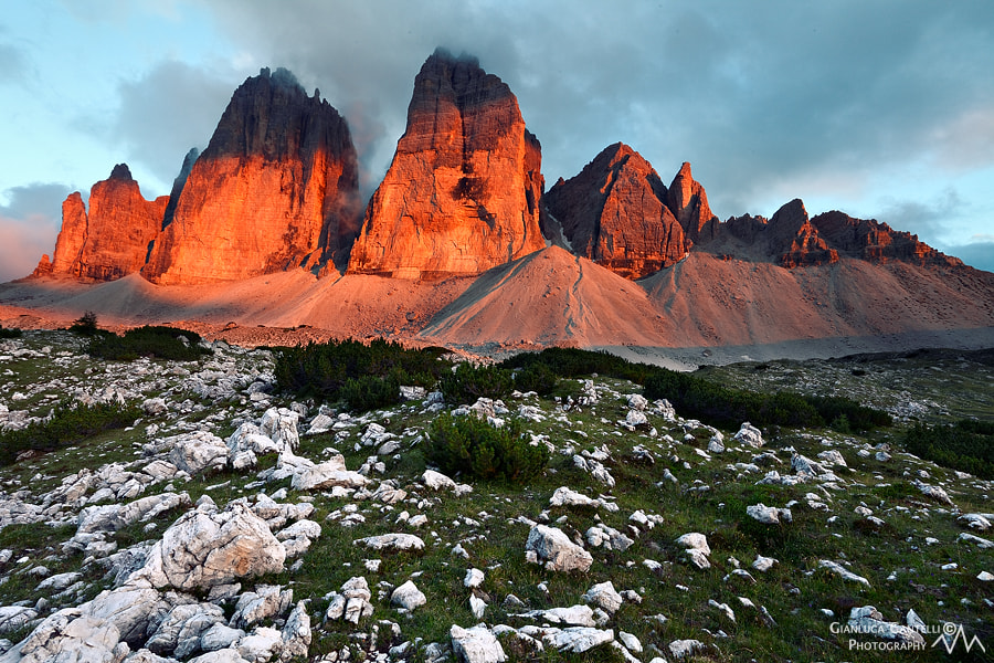 Photograph Tre Cime Di Lavaredo Sunset by Gianluca Cantelli on 500px