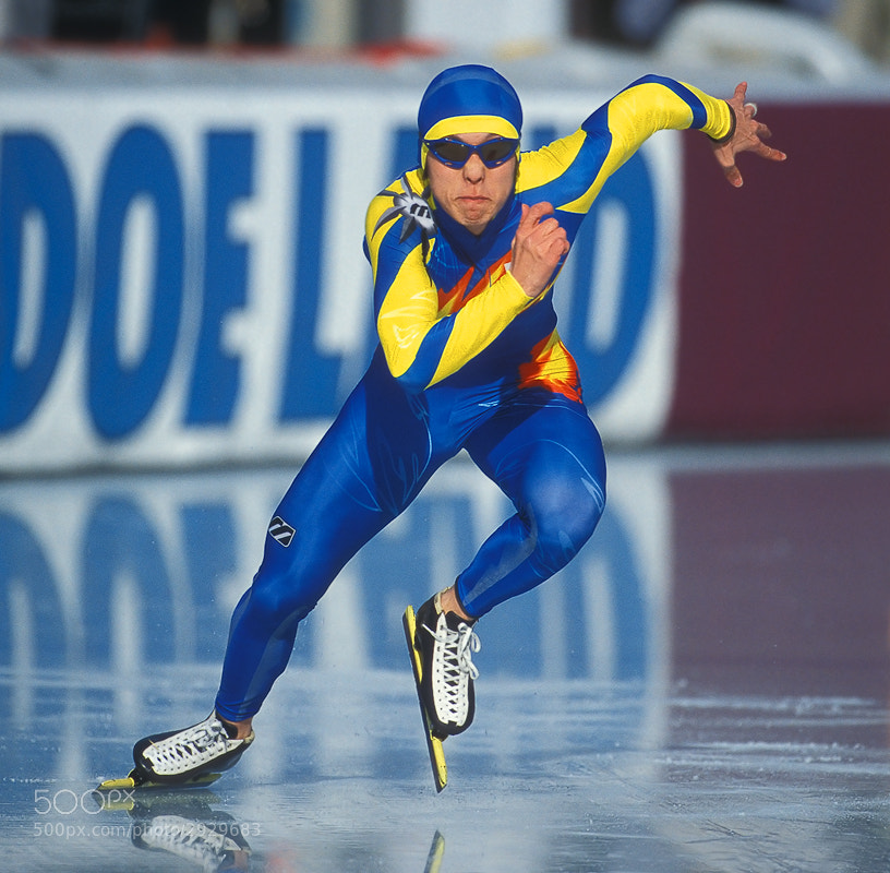 This is the South-Korean speed-skater Joon Mun at the start of a 500 meter run during a World-Cup speed-skating event in Inzell, Bavaria, Southern Germany.  Shot was taken back in March 2003 on Fuji Provia 100F slide film scanned with a Nikon Super Coolscan 4000ED.  Best regards and have a great weekend,  Harry