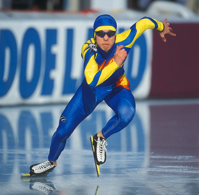 This is the South-Korean speed-skater Joon Mun at the start of a 500 meter run during a World-Cup speed-skating event in Inzell, Bavaria, Southern Germany. 