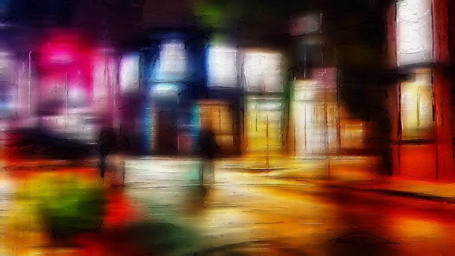 Walking Through Light on a Rainy Night by Mirian on 500px.com