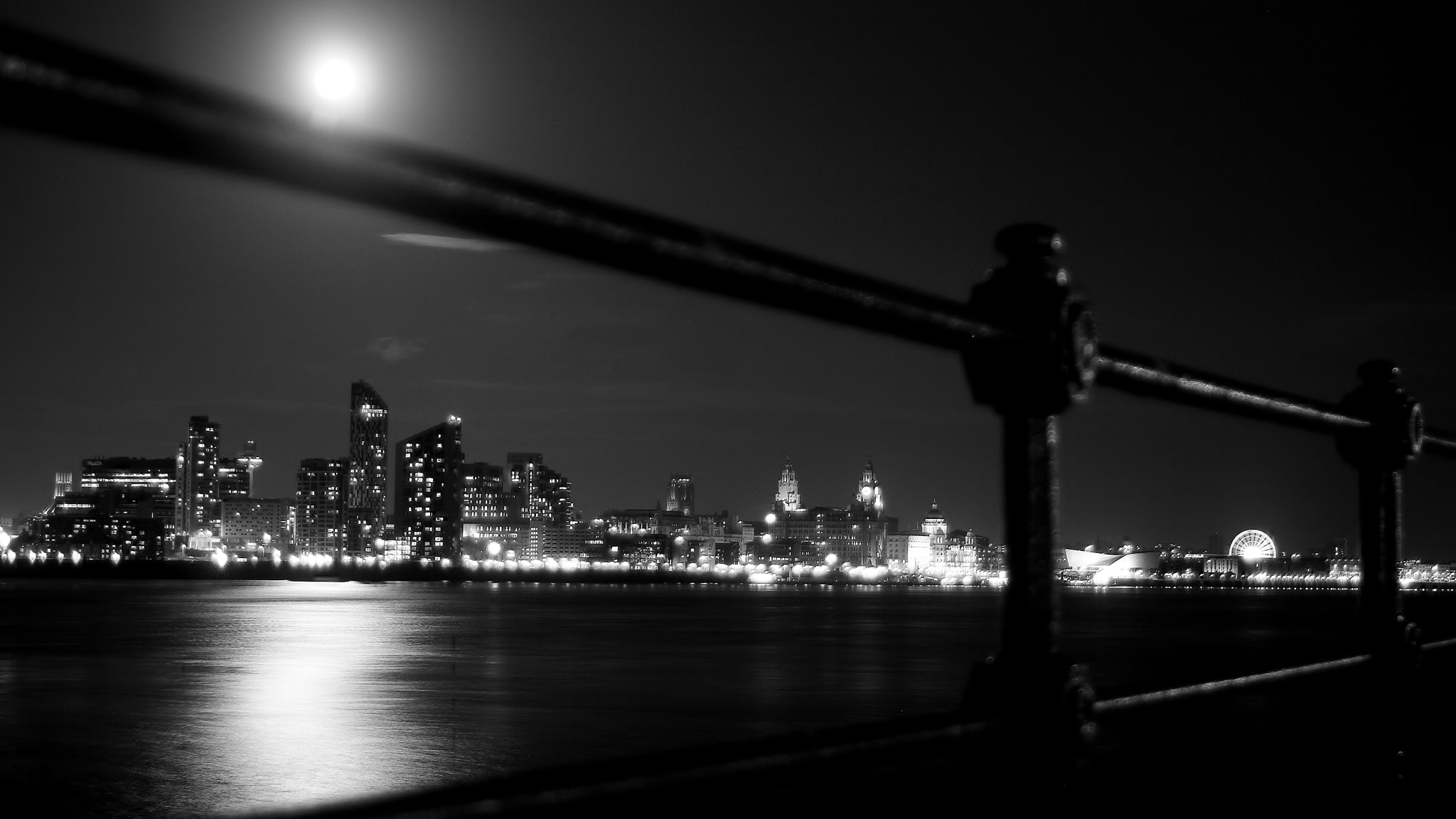 Photograph MOONRISE LIVERPOOL b&w by Conor Jordan on 500px
