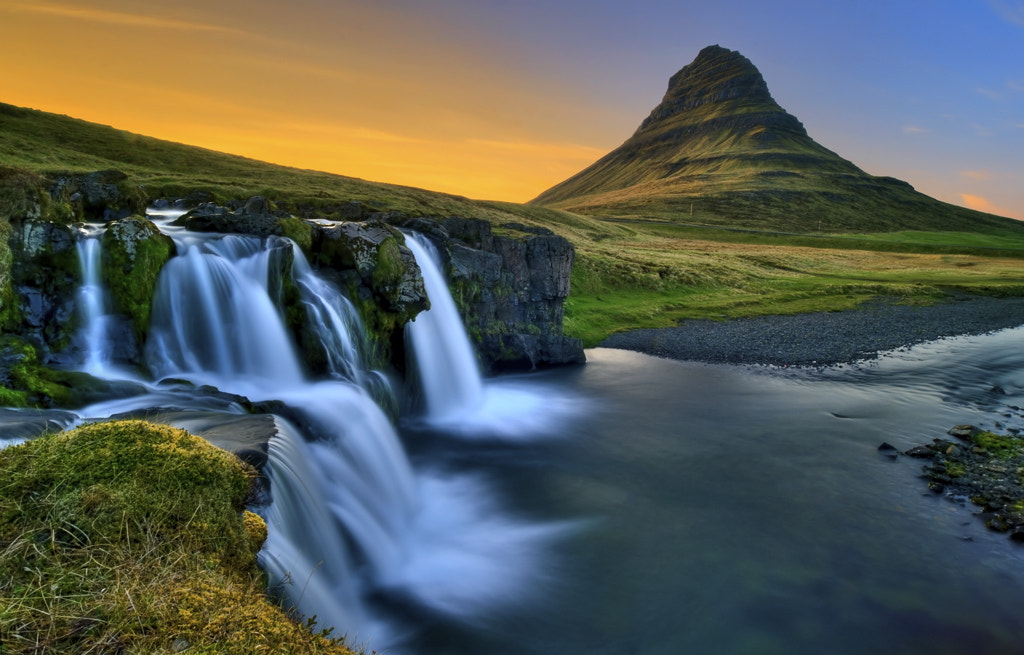 Photograph Waterfall at Sunset by Ævar Guðmundsson on 500px