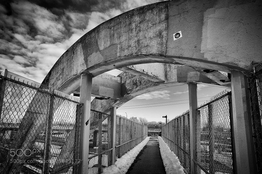 elevated walkway cement arches