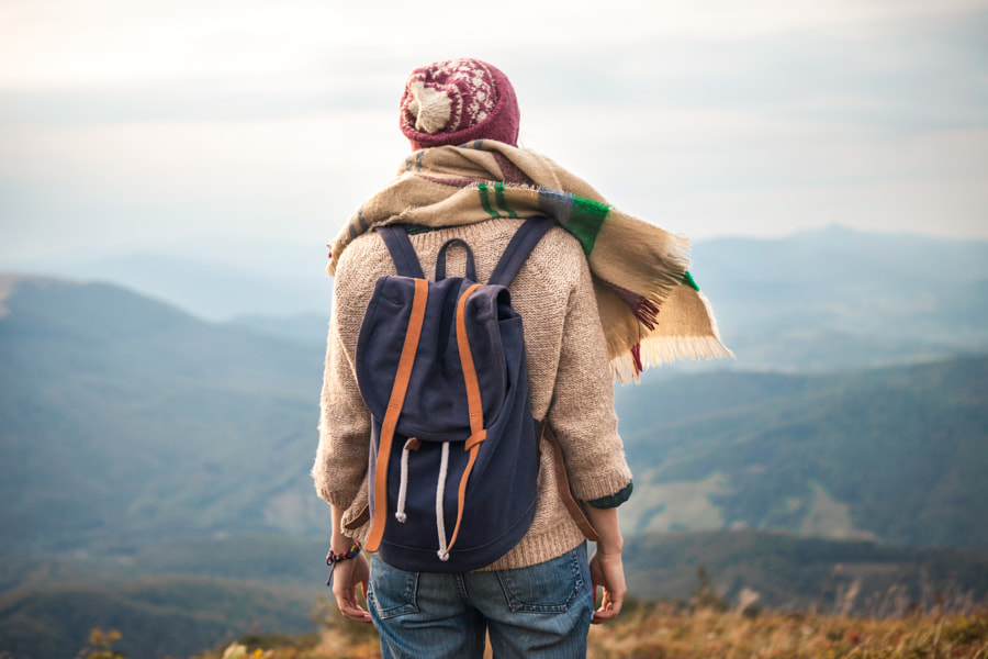 Hipster young girl with backpack by Oleksandr Boiko on 500px.com