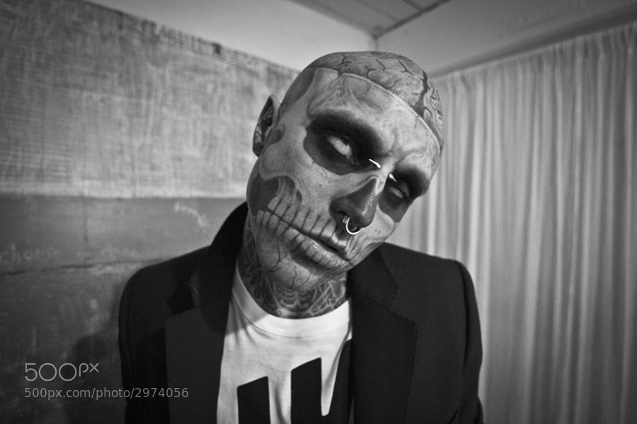 "Rick ""Zombie Boy"" Genest playing to the camera as he waits for the next set up during a shoot for WeTheUrban Magazine."