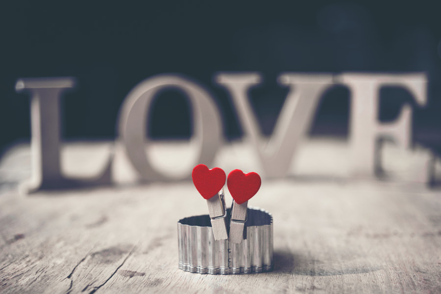The red Heart shapes on abstract background in love concept for by ???? ?????????? on 500px.com