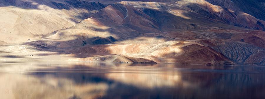 Гималаи и озеро Цо Морри на закате. Ладакх, Индия (Himalayas and Tso Moriri Lake at the sunset. Ladakh, India). Mystical experience