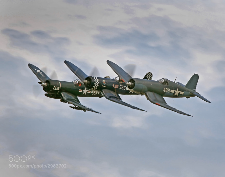 Formation of two F4U and one FG1D Corsairs at the 2011 Thunder Over Michigan Air Show.