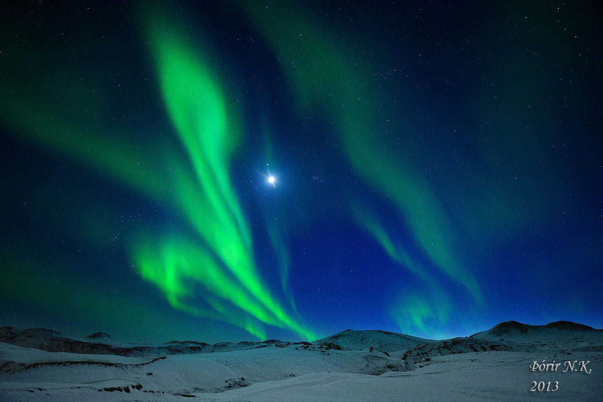 Photograph Moon and Northern lights by Thorir Kjartansson on 500px