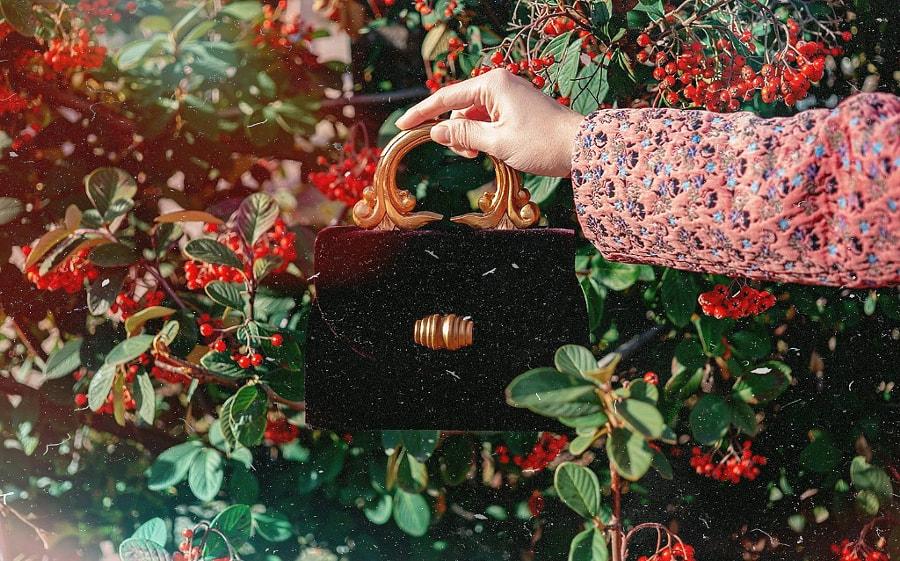 vintage velvet handbag