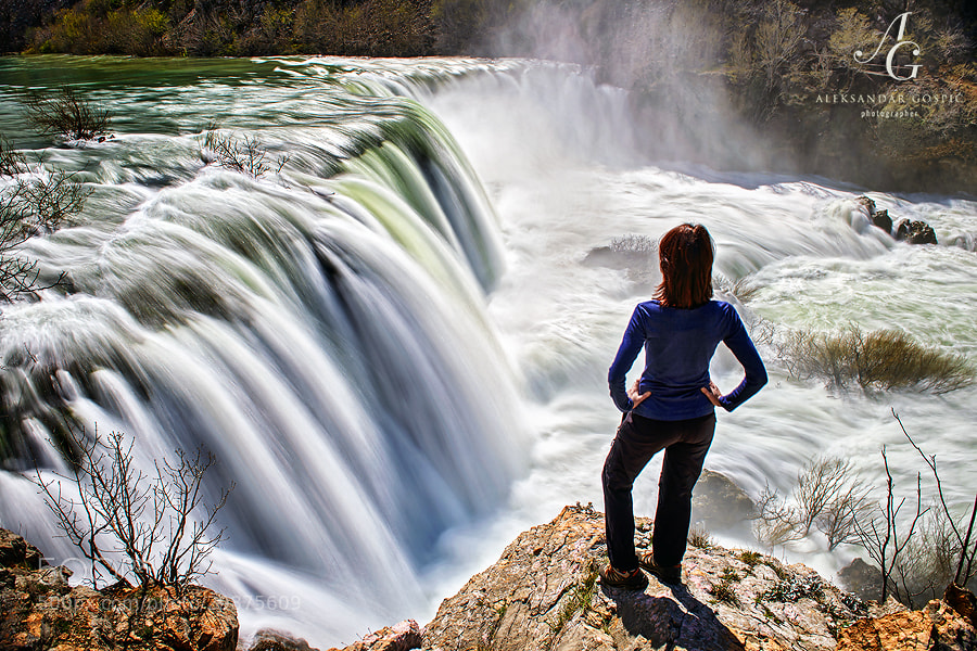 Overwhelmed by the hypnotic power of the water roaring and crashing with immense power over the Visoki Buk waterfall on Zrmanja river, which is over 10m high and more than 100m wide. Zrmanja river carved its canyon into the slopes of Velebit mountain.
