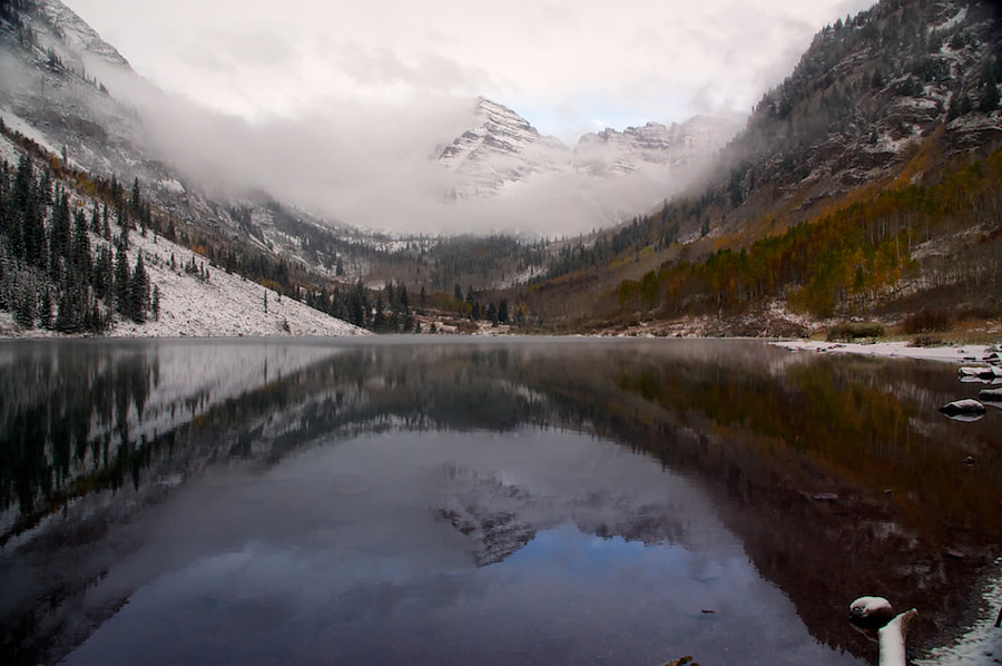 Here's a shot of Maroon Bells near Aspen, CO during a break in the clouds during an early season snow storm. I only had about 10 minutes that you could actually see the mountains.