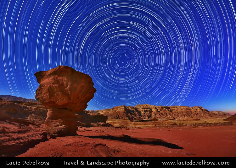 Photograph 3 hours of Startrails over Red Desert during Full Moon Night by Lucie Debelkova -  Travel Photography - www.luciedebelkova.com on 500px