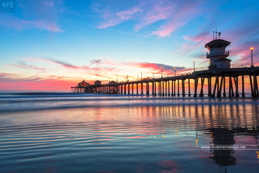 Photograph Pleasing Sunset at Huntington Beach Pier by Nhut Pham on 500px