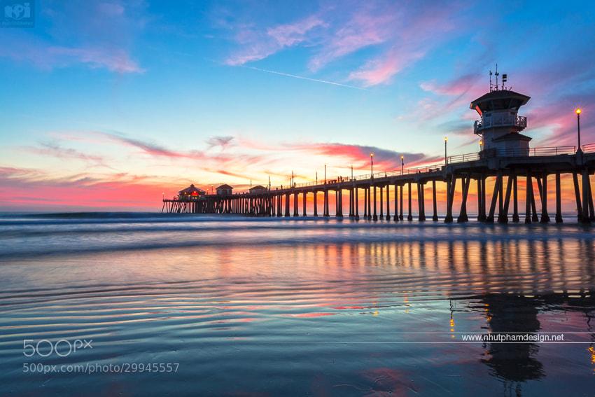Photograph Pleasing Sunset at Huntington Beach Pier by Nhut Pham on 500px