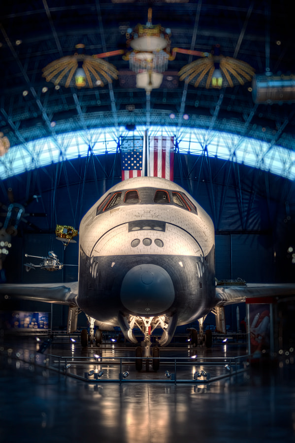 The Space Shuttle Enterprise at Air and Space Museum's The Steven F. Udvar-Hazy Center, located near Dulles International Airport.