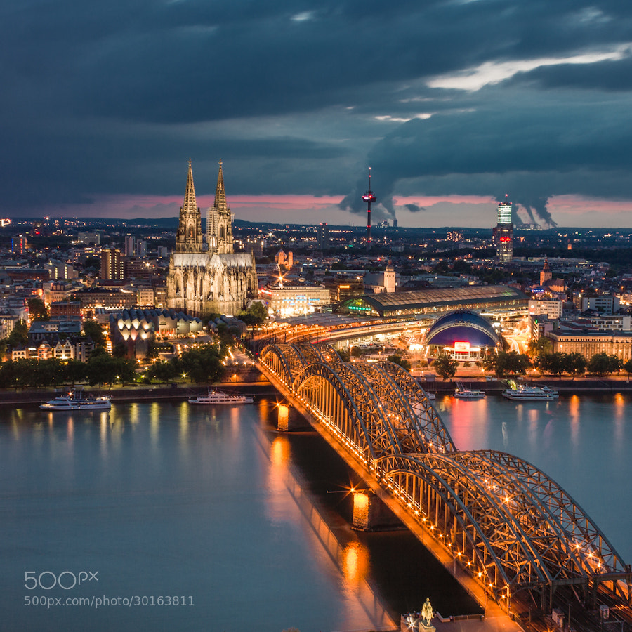 Photograph Cologne at Blue Hour by Villy  on 500px
