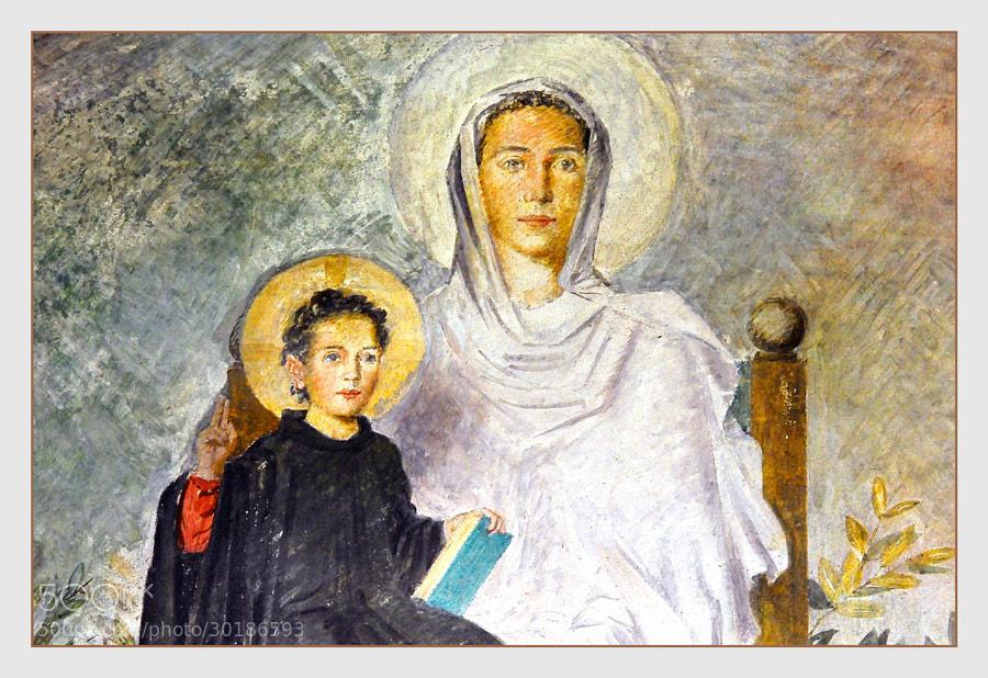 Samos  En el interior del Monasterio  Pinturas murales en el claustro  _______________________  Samos  inside the Monastery  Mural paintings in the cloister