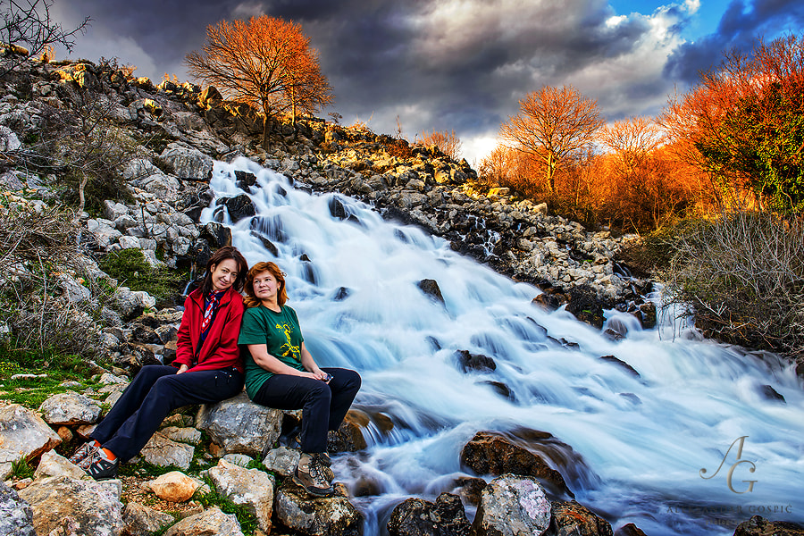 At the end of the day on the source of river Krupa, which suddenly rushes out of the foothills of Velebit mountain