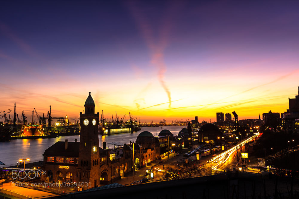 Photograph Sunset Hamburg Landungsbrücken by Merten Hauschildt on 500px
