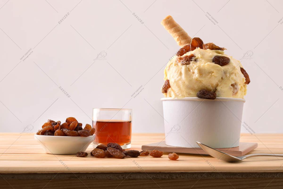 Rum with raisins ice cream cup decorated with raisins