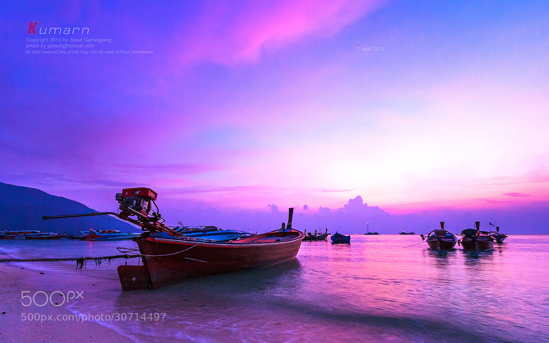 Photograph Boat on sunrise by Suwit Gamolglang on 500px