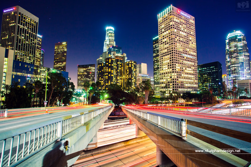 Photograph Me and Downtown Los Angeles at Night! by Nhut Pham on 500px