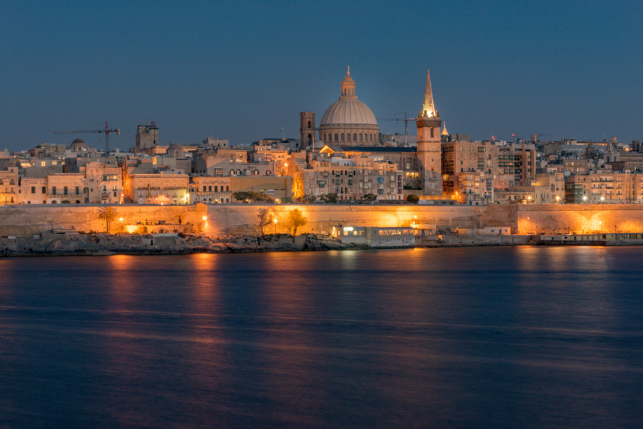 Panoramic view of Valletta Skyline at beautiful sunset from Sliema with churches of Our Lady of... by Martinscphoto on 500px.com