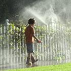 A nice walk in the sprinkler's on a warm Spring Break day!