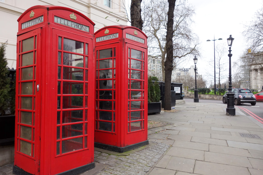 Red Telephone Boxes, London by Sandra  on 500px.com