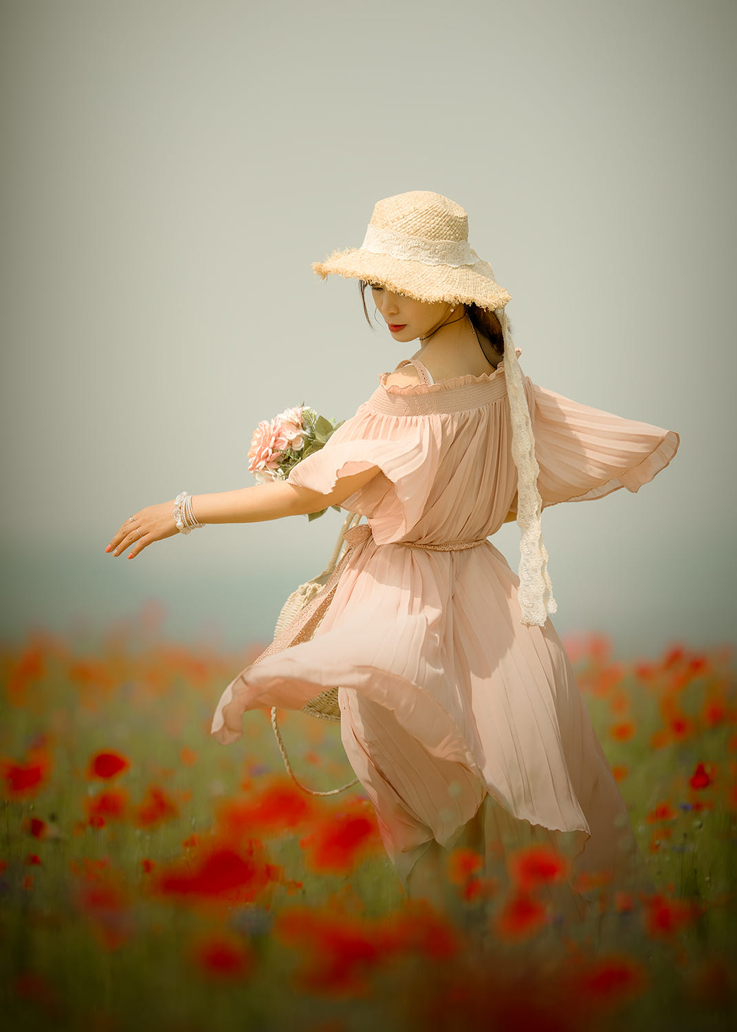 Girl and flowers  ..